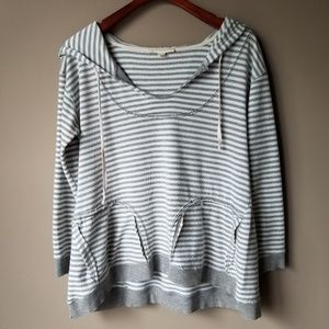Lovestitch | Striped Raw Edge Hooded Sweater